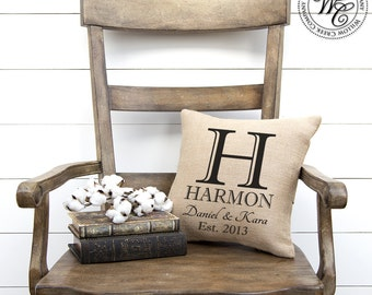 Gift for her, newlyweds gift, farmhouse decor, Family Name, Burlap, Personalized Pillow, Burlap Pillow, Engagement Gift, Monogram Pillow,