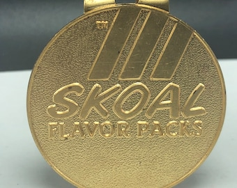 SKOAL MONEY CLIP vintage chewing tobacco advertising tobacciana gold color solid brass Tm flavor packs emblem wallet pocket Fathers day gift