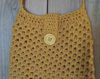 Handmade crocheted crossbody bag/ hand bag/ yellow crossbody bag/ crocheted purse