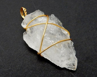 Crystal Quartz Arrowhead Pendant Wire Wrapped Gold Tone Arrow Head Charm (RK40B1b)