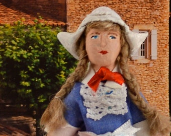 Little Dutch Girl Handmade Doll Miniature Art Collectible by Uneek Doll Designs