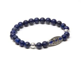 Girlfriend Gift Boho Ethnic Handmade Jewelry Bracelet for Men Blue Lapis Lazuli Gemstone Mens Bracelet Womens Bracelet Silver Plated