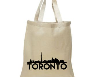 High Quality Heavy Canvas Tote Bag - Toronto with Skyline