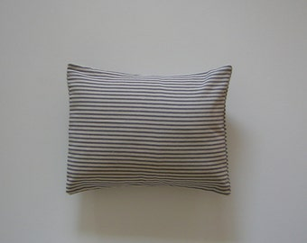 Ticking Striped 12x16 Pillow Cover Blue Stripes On Cream Background