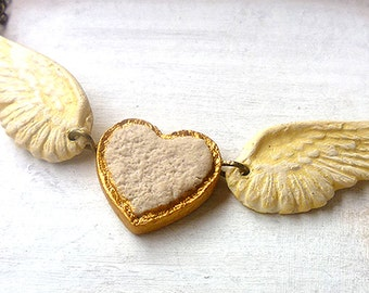 Free Heart and Wings necklace, Shabby Chic Necklace, winged heart, free heart, I LOVE MYSELF affirmation, steampunk romantic