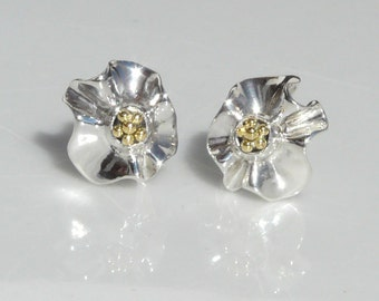 Contemporary Silver Earrings, 18kt Gold beads. Designer, Artisan, Precious Gift for her. Fine Collectible Designer Art jewelry.