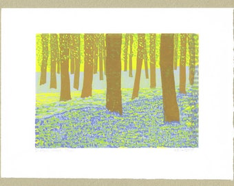 Bluebell Wood, Bluebells - Limited Edition Linocut Print