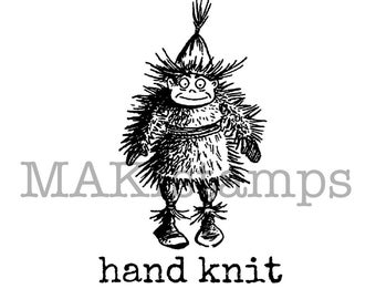 "Handmade rubber stamp / Text stamp "" hand knit "" / DIY rubber stamp (150410)"