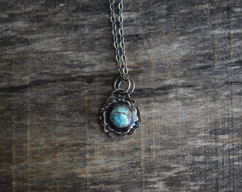 Turquoise Flower Necklace, Small Turquoise Pendant, Silver Turquoise Flower Pendant, Bridal Jewelry, Bridesmaid Necklace, Floral Jewelry