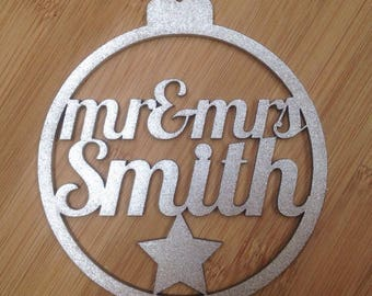 Mr & Mrs Personalised Laser Cut Bauble Christmas Tree Decorations