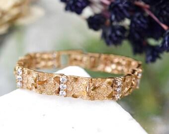 Sterling Silver Gold Overlay Nugget Bracelet with CZ Accents, CZ Nugget Bracelet, Vermeil Nugget Bracelet, Gold Nugget Style Link Bracelet