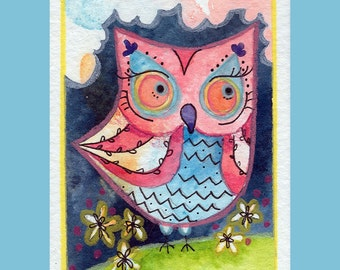 The Darling - Archival Art Print 3.5x5 Owl