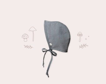 Baby Bonnet in Slate Grey | Organic Cotton