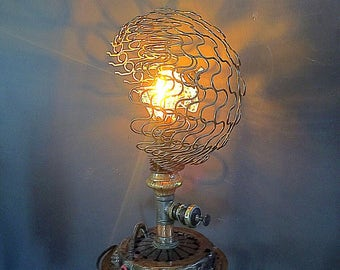 Industrial Steel Steampunk Desk Lamp w/Handwoven Copper Wire Shade & Glass Diffuser, Steampunk Furniture, Upcycled Lamps, Restored, Recycled