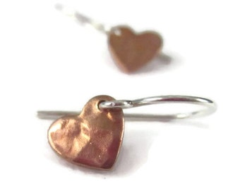 Tiny Heart Earrings Rose Gold Sterling Silver Hammered Dangle Earrings Mixed Metal Girlfriend Gift