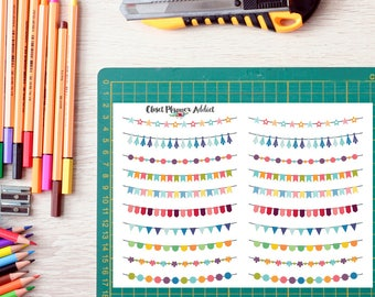 Colourful Buntings Planner Stickers | Bunting Stickers | Weekend Buntings Stickers | Decorative Bunting Stickers (FP-010)
