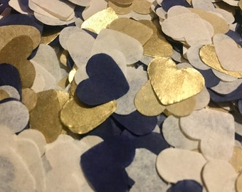Navy blue, gold and ivory heart wedding confetti - metallic