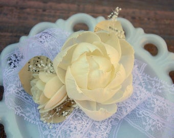 Sola flower corsage, ivory wrist corsage, sola wood flower, vintage sheet music, ecoflower, vintage lace tie on wrist corsage, prom flower
