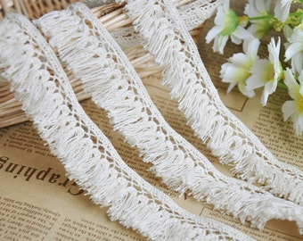 3 yards Beige Cotton Lace Trim Teardrop Tassels Necklace Lace 0.98 Inches Width