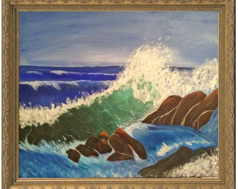 Crashing Waves painting, the beautiful power of the ocean