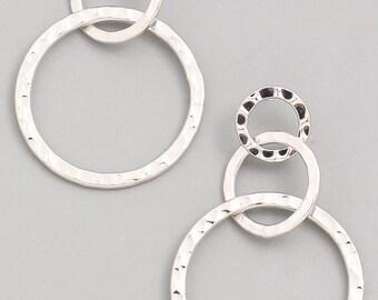 Silver 3 hoop earrings