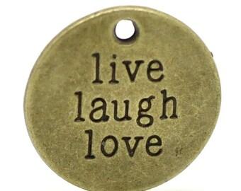 "Pendant charm ""Live Laugh Love"" round Bronze 20mm"