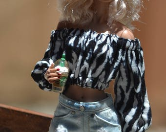Extra-faded and Distressed Denim Shorts for 12in Fashion Dolls