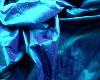 Silk Dupioni in  Peacock Blue, Fat Quarter, D - 121
