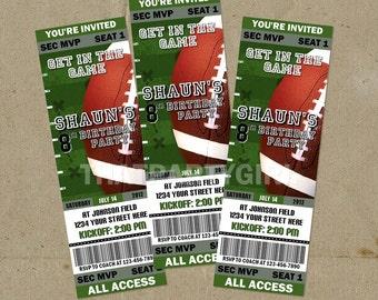 100 Football Birthday Party Ticket Style Invitations