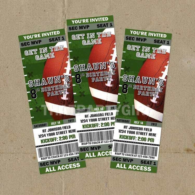 12 Football Birthday Party Ticket Style Invitations