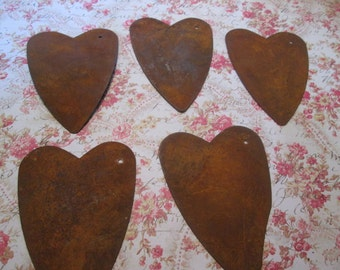 Rusty tin primitive hearts 3 inches long ready to hang - 10