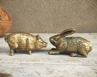 Brass Figurines Small Rabbit and Pig Figurines, Vintage Brass Decor, Brass Animals Bunny