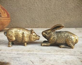 Brass Figurine Small Rabbit OR Pig Figurine, Vintage Brass Decor, Brass Animals