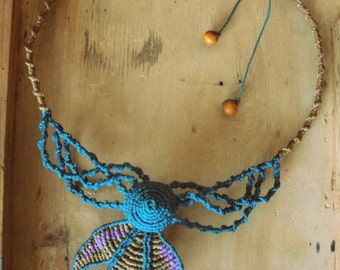 Macrame Necklace: spiral, coloured petals and branches Creepers