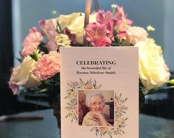 Funeral Program, Memorial Program, Celebration of Life, Order of Services, Watercolor Flower, Bereavement, Female, 8.5 x 11, Folded