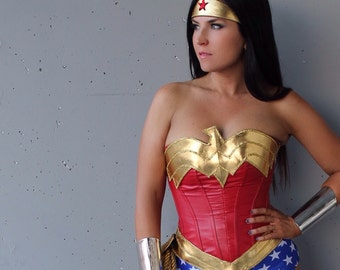 Classic Wonder Superhero Woman COSTUME w/ Royal Blue Star-Spangled Bottoms