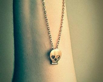Skull Necklace Skull Pendant Bone Necklace Skeleton Pendant Layering Skull Choker Gift For Her Gold Emo Necklace Goth Necklace Gothic Choker