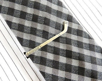 Hockey Stick Tie Clip- Hockey Stick Tie Bar- Sterling Silver or Antiqued Brass Finish