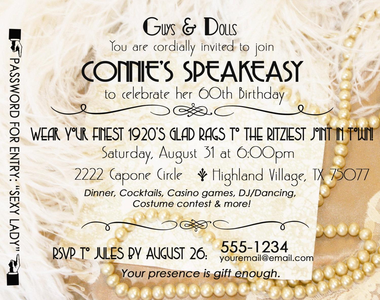 Gatsby Roaring 20\'s Speakeasy Invitation Twenties Wedding