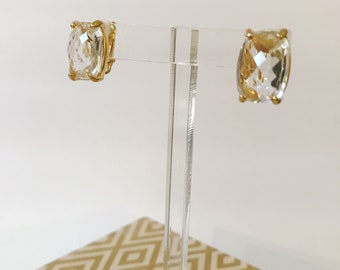 Vintage Swarovski Crystal Gold 80's Earrings