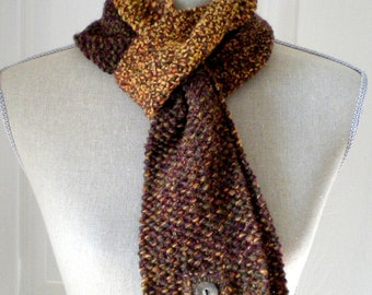 SALE Inifinity Scarf for Men or Women - Wool Tweed Mobius Circle Scarf - Brown Tweed