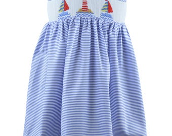 Marco & Lizzy hand smocked sailboat dress size 24 mths