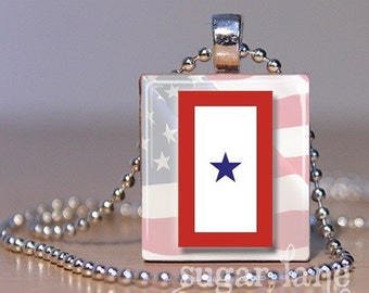 Blue Star Necklace - Military Service Flag Necklace - (One Star, Red, White, Blue) - Scrabble Tile Pendant with Chain