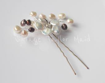 Bridal hair pin Keshi freshwater pearl decorative floral wedding accessory