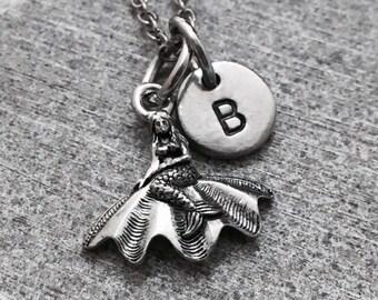 Mermaid necklace, mermaid charm, nautical necklace, personalized necklace, initial necklace, initial charm, monogram