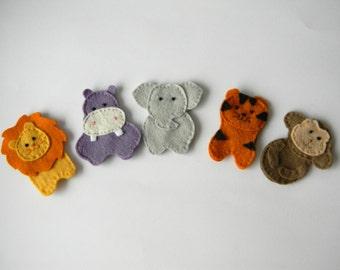Felt finger puppets Safari  set of 5,  Animal Puppet , Zoo Safari Play Toy, christmas gift , stocking stuffer