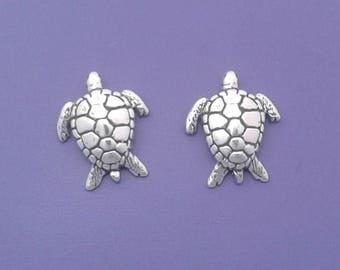 Sea TURTLE Earrings .925 Sterling Silver Post Stud - se1484