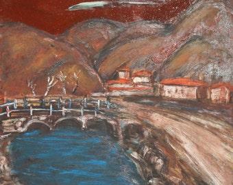 Vintage oil painting expressionist landscape signed