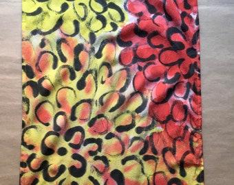 """Floral Silk Skinny Scarf, Custom Colors, Hand Painted """"Chrysanthemum"""" Pattern"""