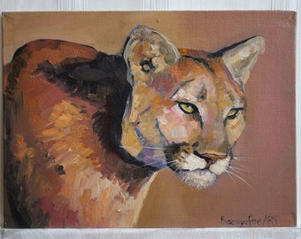Puma Original oil painting Cougar Animal artwok Brown ogange wall art Gift Small painting Big cat painting Gif for friend Mountain lion